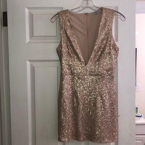 Champagne sequin deep v cut dress
